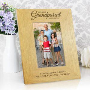 "Personalised """"The Best Grandparent"""" 6×4 Oak Finish Photo Frame"