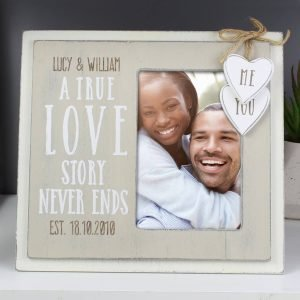 Personalised Love Story 6×4 Wooden Photo Frame