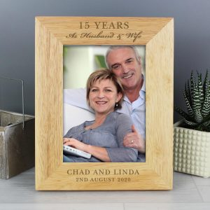 Personalised Anniversary 7×5 Wooden Photo Frame