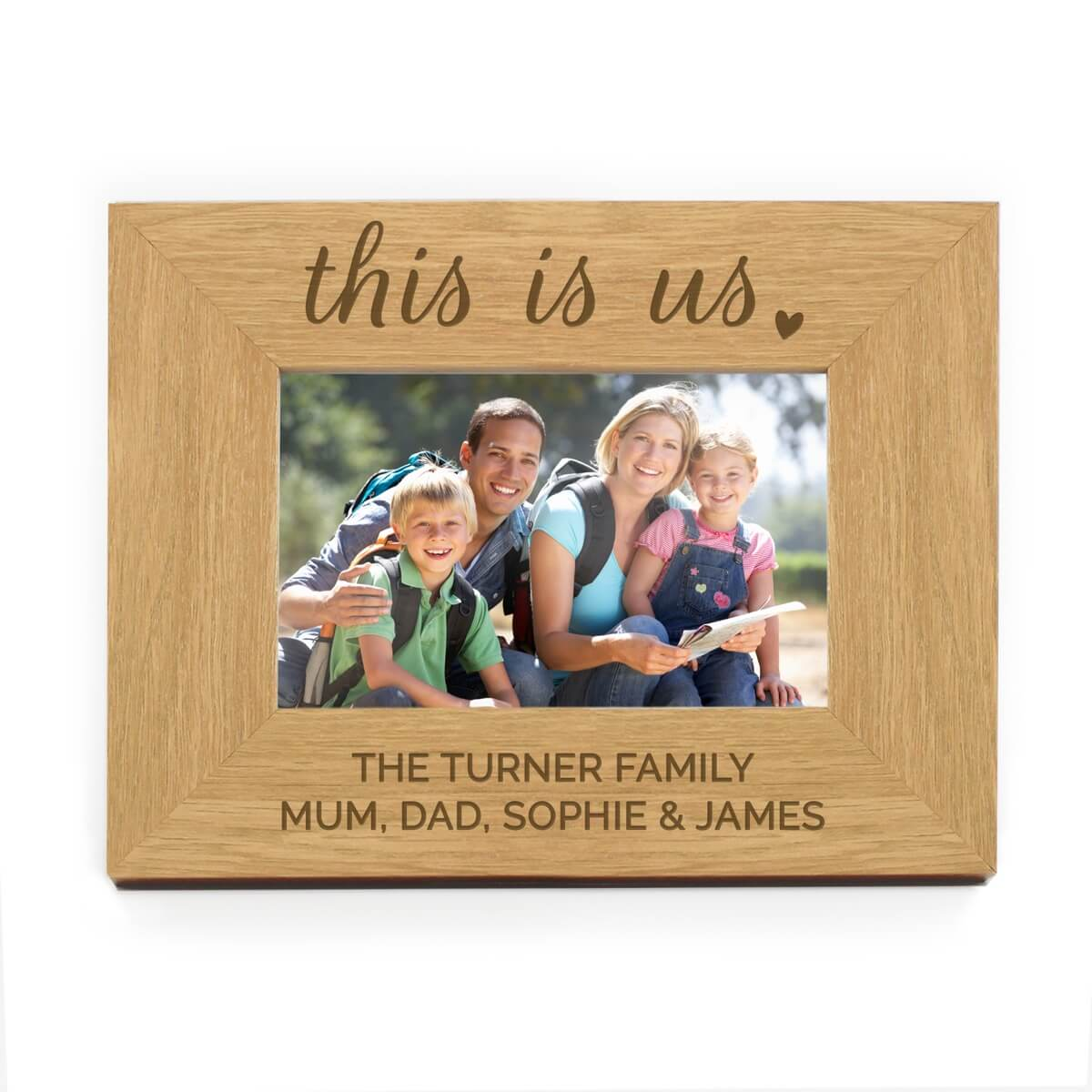 Personalised 'This Is Us' 6×4 Landscape Wooden Photo Frame