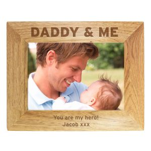 Personalised Daddy & Me 7×5 Landscape Wooden Photo Frame