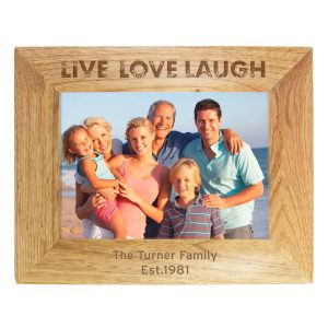 Personalised Live Love Laugh 7×5 Landscape Wooden Photo Frame