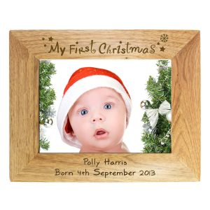 Personalised My First Christmas 7×5 Landscape Wooden Photo Frame