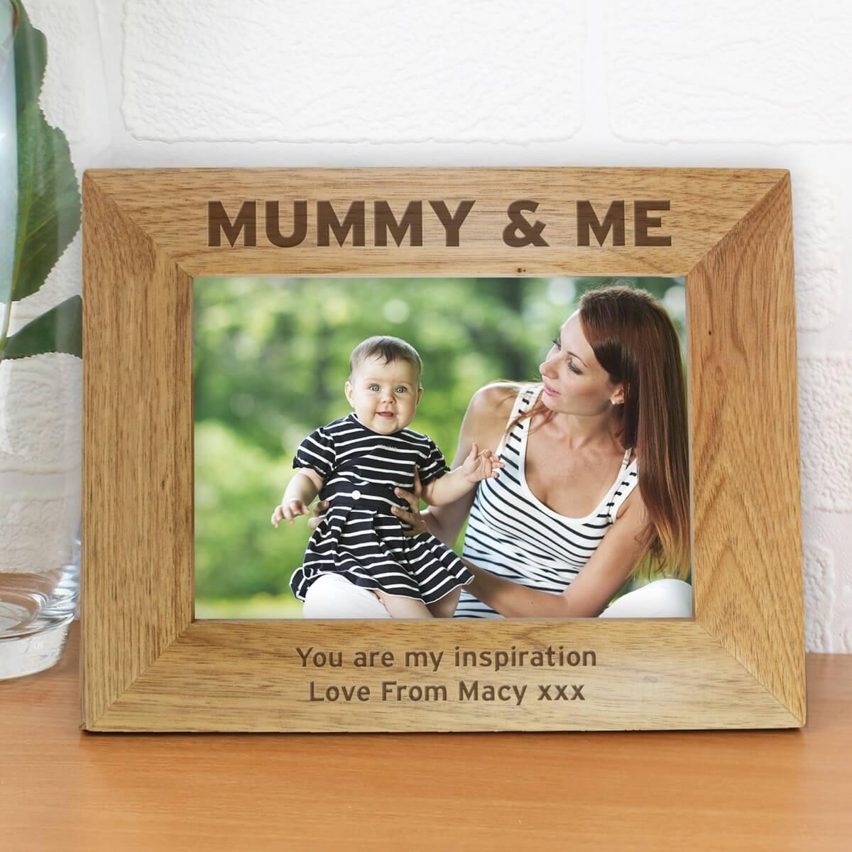 Personalised Mummy & Me 7×5 Landscape Wooden Photo Frame