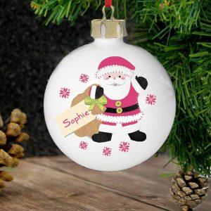 Personalised Felt Stitch Santa Bauble