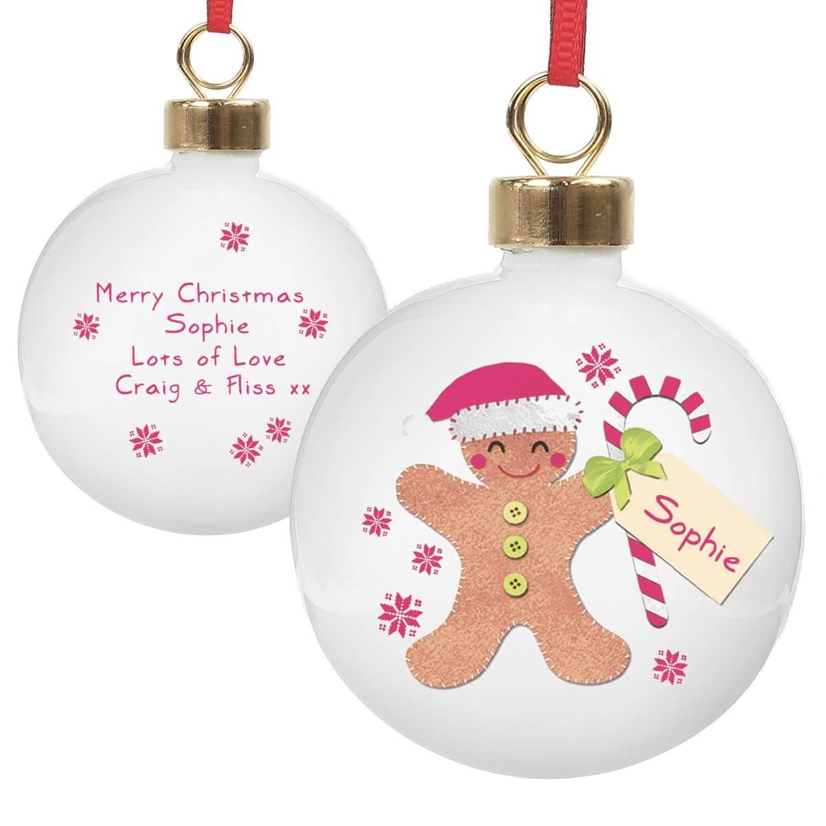 Personalised Felt Stitch Gingerbread Man Bauble