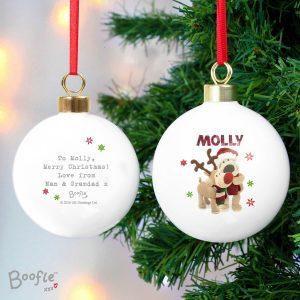 Personalised Boofle Christmas Reindeer Bauble