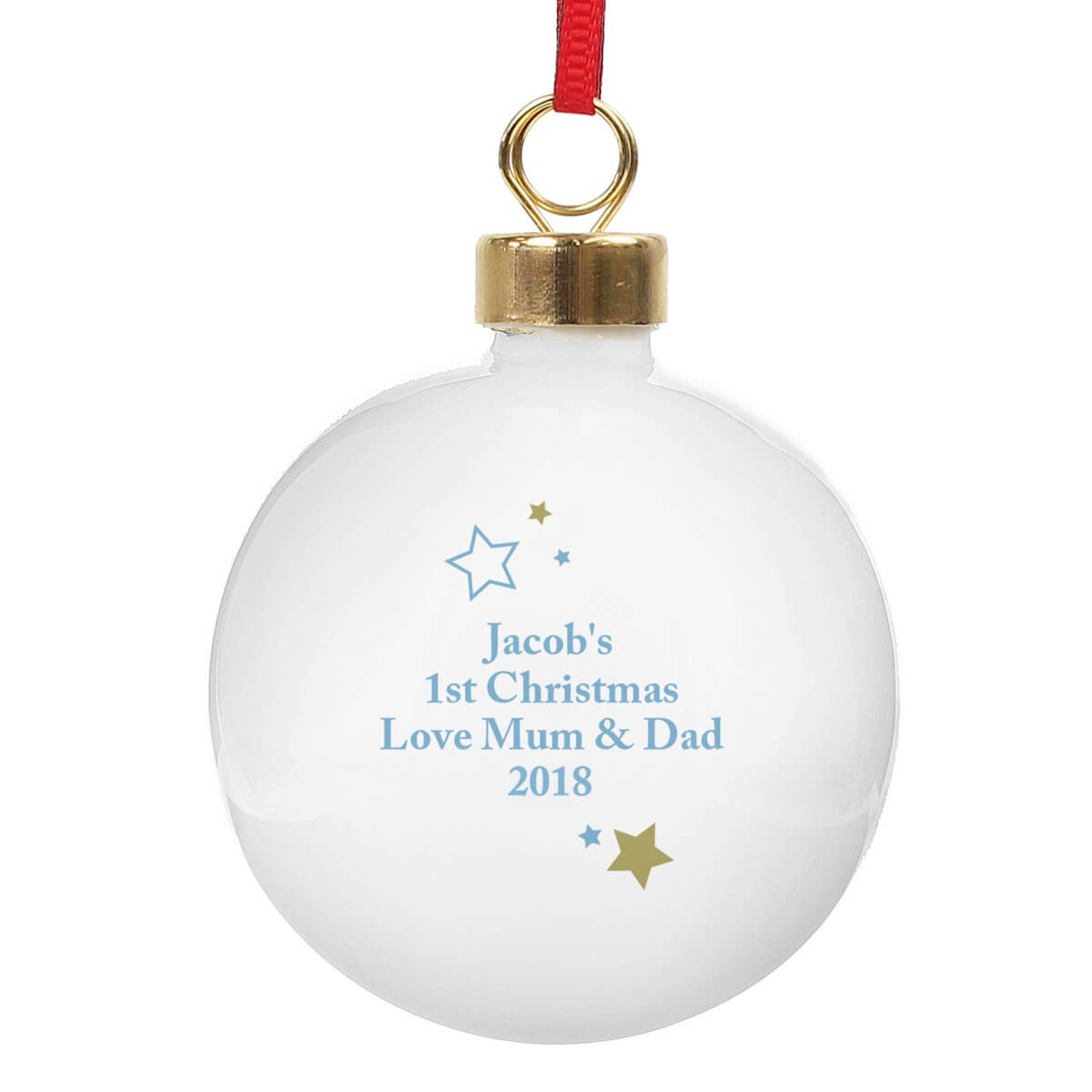 Personalised Gold & Blue Stars My 1st Christmas Bauble