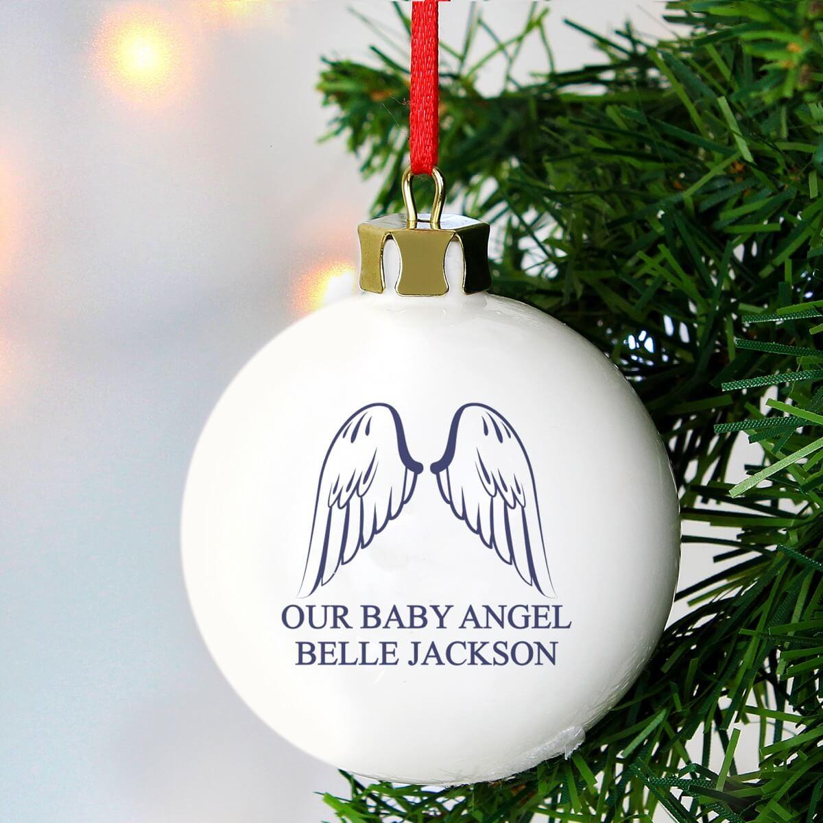 Personalised Angel Wings Bauble