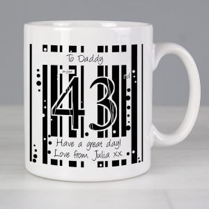 Personalised Black & White Happy Birthday Mug
