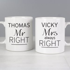 Personalised Classic Mr Right/Mrs Always Right Mug Set