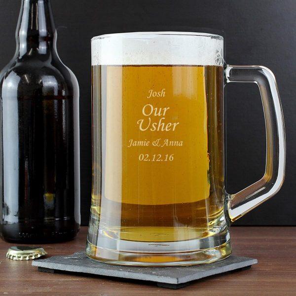 Personalised Glass Pint Stern Tankard