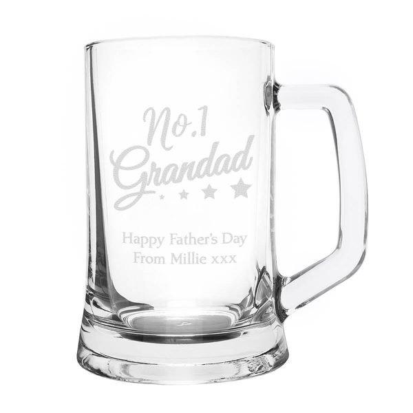 Personalised No.1 Grandad Glass Pint Stern Tankard