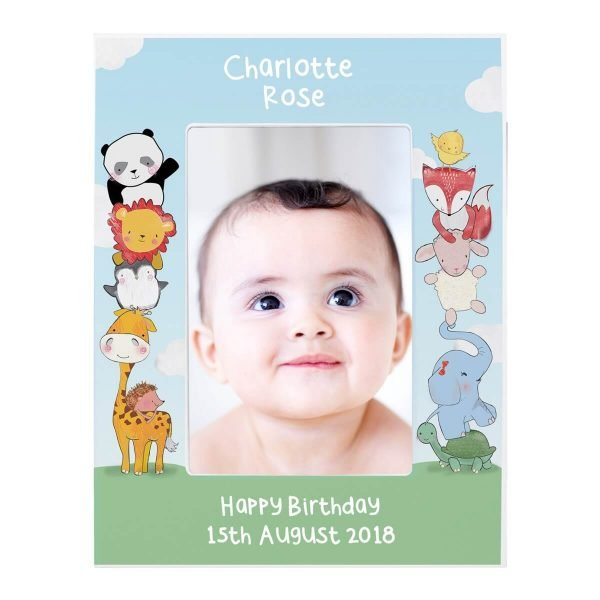 Personalised Baby Animals 6×4 Wooden Photo Frame