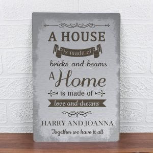 Personalised 'A House Is Made Of…' Metal Sign