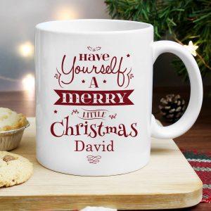 Personalised Merry Little Christmas Mug