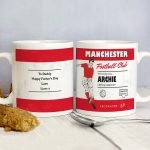 Personalised Vintage Football Red and White Supporter's Mug