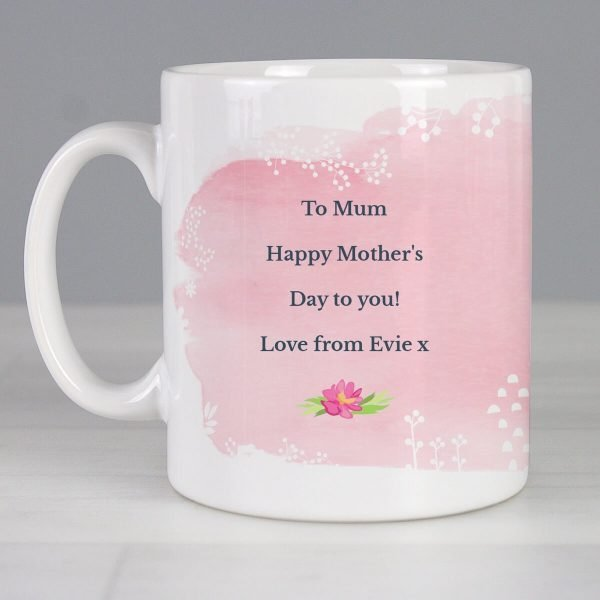 Personalised Floral Watercolour Mug