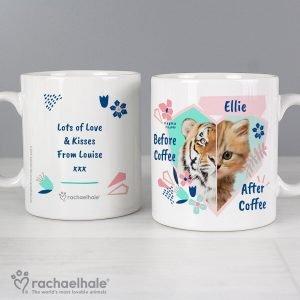 Personalised Rachael Hale 'Before Coffee/After Coffee' Cat Mug