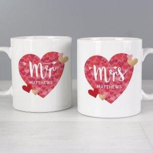 Personalised Mr and Mrs Valentine's Day Confetti Hearts Mug Set