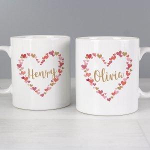 Personalised Confetti Hearts Wedding Mug Set
