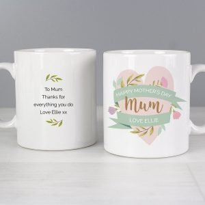 Personalised Floral Heart Mothers Day Mug