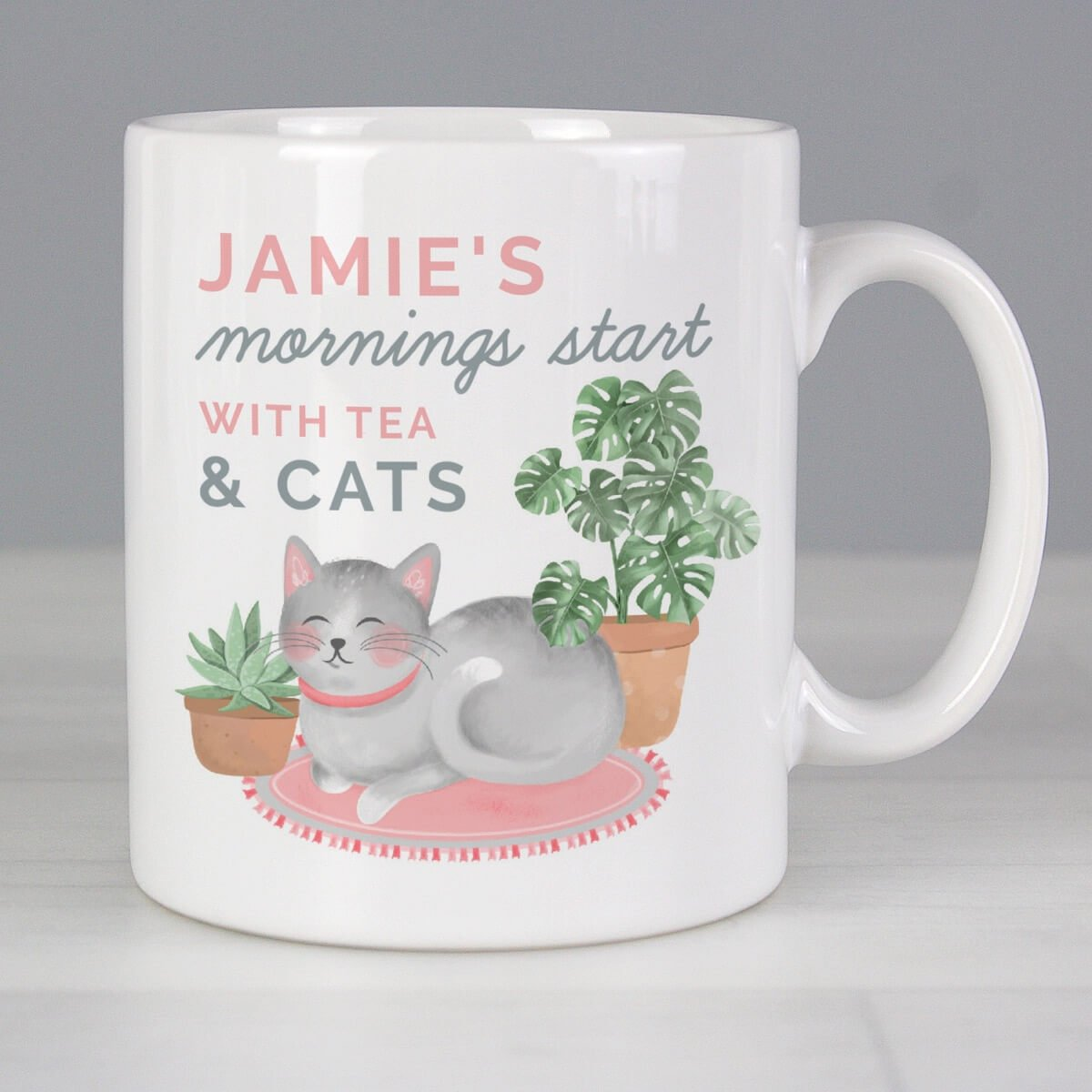 """Personalised """"""""Mornings Start with Cats and"""""""" Mug"""