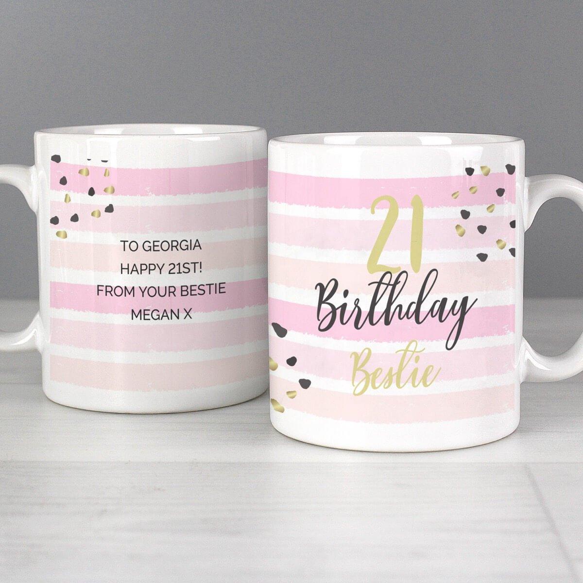Personalised Birthday Gold and Pink Stripe Mug