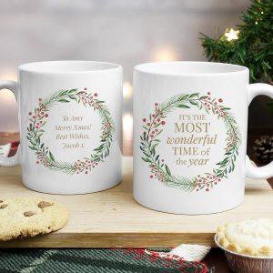 Personalised 'Wonderful Time of The Year' Christmas Mug