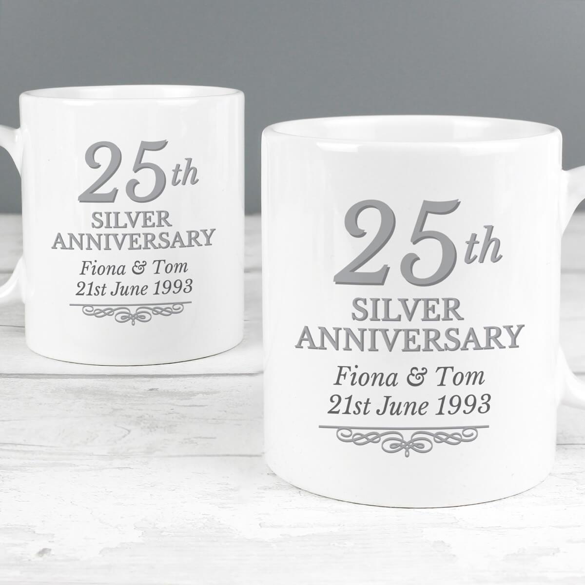 Personalised 25th Silver Anniversary Mug Set