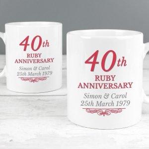 Personalised 40th Ruby Anniversary Mug Set