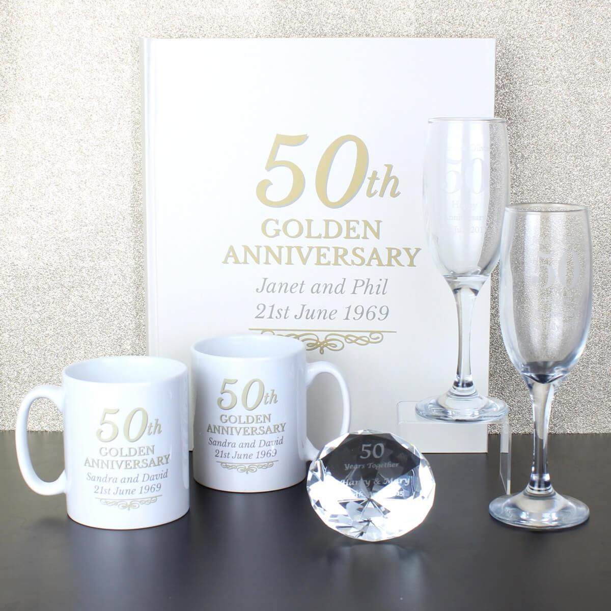 Personalised 50th Golden Anniversary Mug Set