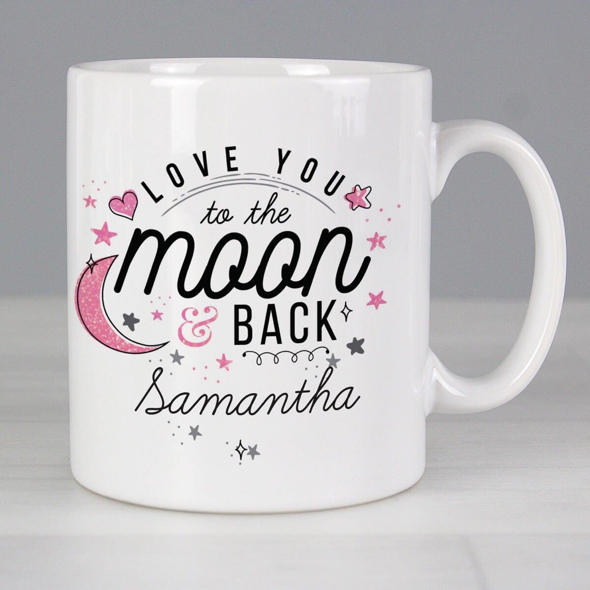 Personalised To The Moon & Back Pink Mug