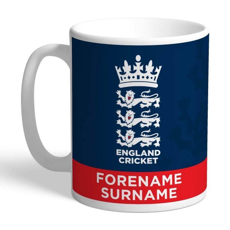 Personalised England Cricket Bold Crest Mug