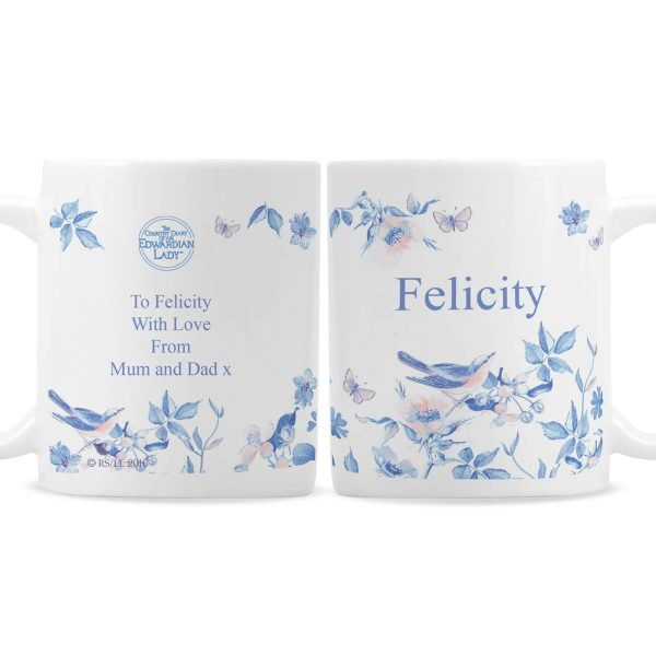Personalised Country Diary Blue Blossom Mug