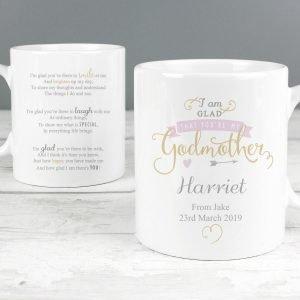 Personalised I Am Glad… Godmother Mug