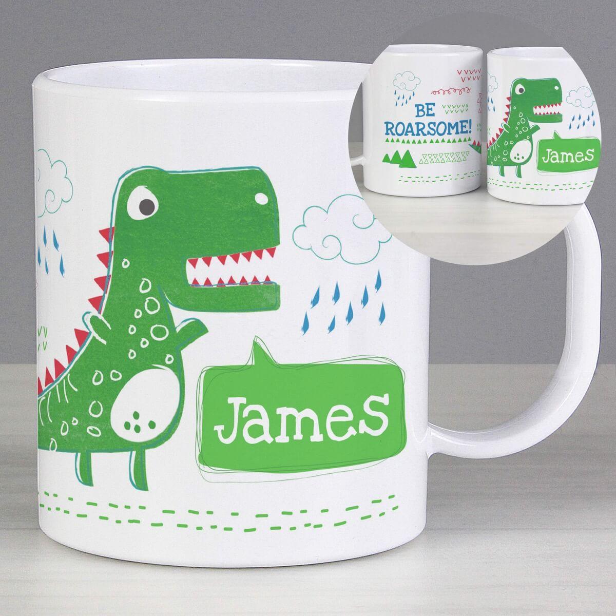 Personalised 'Be Roarsome' Dinosaur Plastic Mug