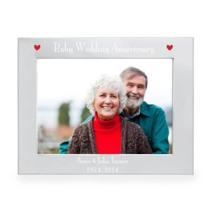 Personalised Silver 7×5 Ruby Anniversary Landscape Photo Frame