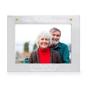 Personalised Silver 7×5 Golden Anniversary Landscape Photo Frame