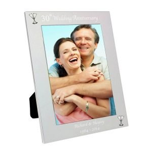 Personalised Silver 5×7 30th Wedding Anniversary Photo Frame