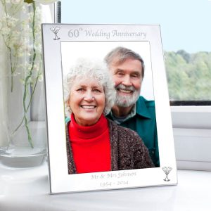 Personalised Silver 5×7 60th Wedding Anniversary Photo Frame