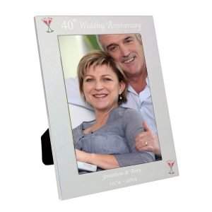 Personalised Silver 5×7 40th Wedding Anniversary Photo Frame
