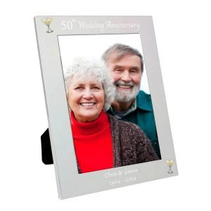 Personalised Silver 5×7 50th Wedding Anniversary Photo Frame