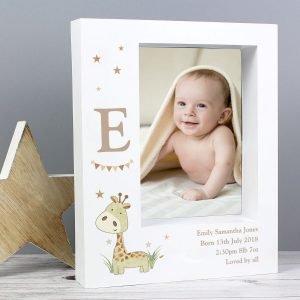 Personalised Hessian Giraffe 7×5 Box Photo Frame