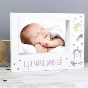 Personalised Baby Unicorn 7×5 Landscape Box Photo Frame