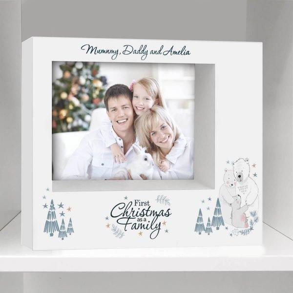 Personalised Polar Bear '1st Christmas As A Family' 7×5 Box Photo Frame