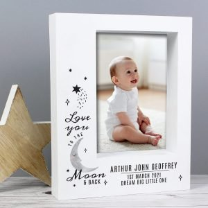 Personalised Baby To The Moon and Back 7×5 Box Photo Frame