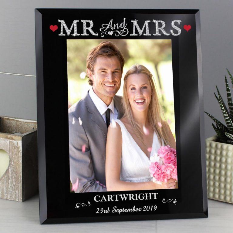 Personalised Bling Mr & Mrs Black Glass 5×7 Photo Frame