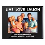 Personalised Live Love Laugh Black Glass 7×5 Photo Frame