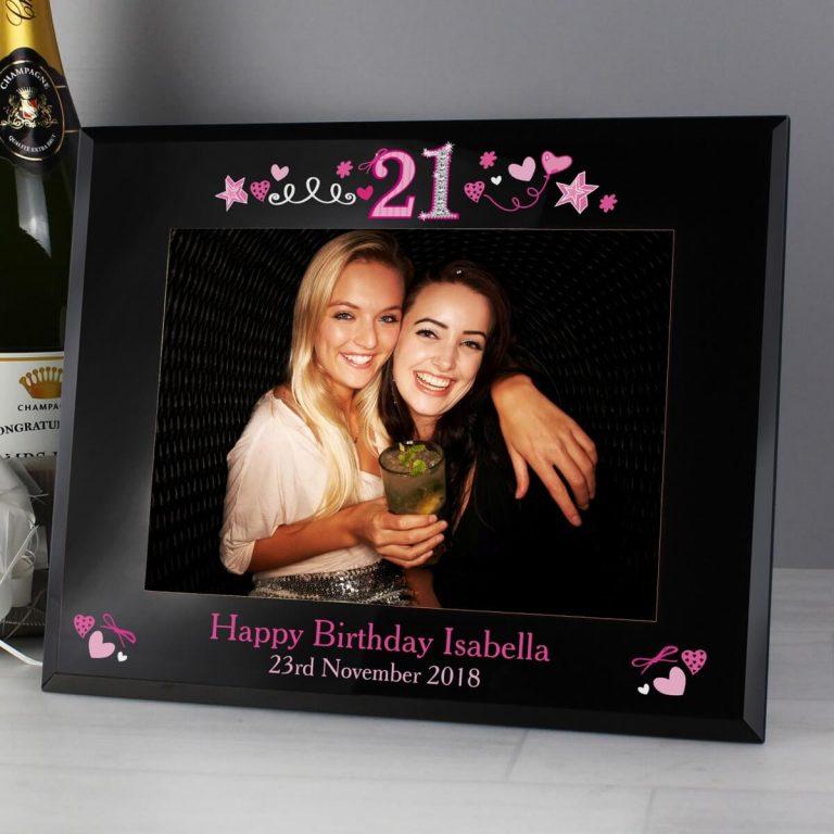 Personalised 21st Birthday Black Glass 7×5 Photo Frame